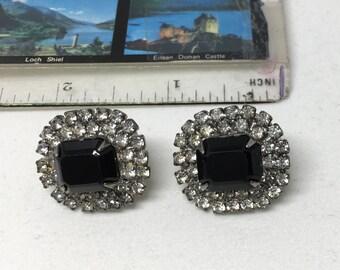 Vintage black & rhinestones clipon earrings