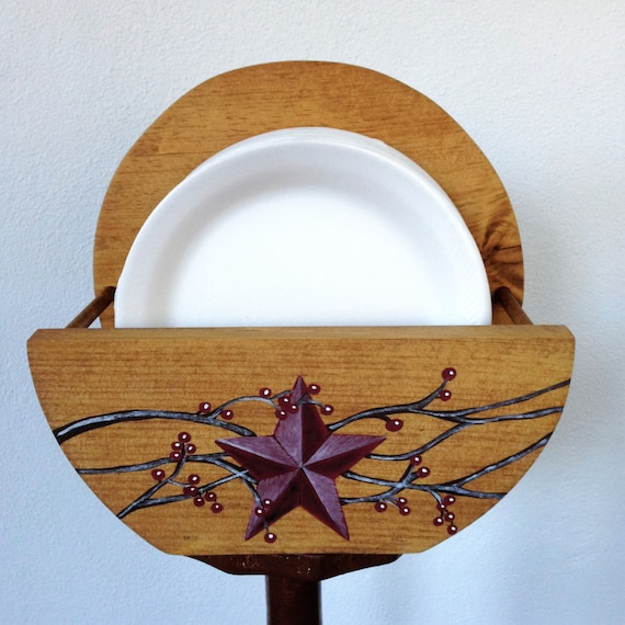 Paper Plate Holder, Primitive Paper Plate Holder, Primitive Star Paper Plate Holder, Hand Painted, Primitive Kitchen Decor, Kitchen Storage