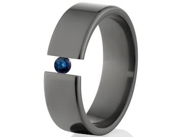 Tension Set Ring, Uniquely You, Black Zirconium, Sapphire -  BZ-7F-P-Tension