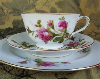 Vintage Floral Tea Cup (3 pc.) - Moss Rose - Made in Japan