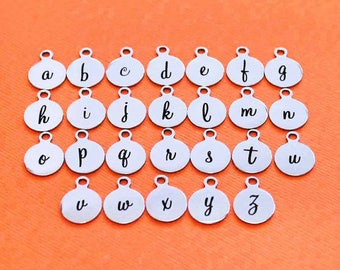 BULK 20 Stainless Steel Letter Charms - Choose Your Initial - Lowercase Cursive Script Alphabet - ALPHA1600BFS-IND-B