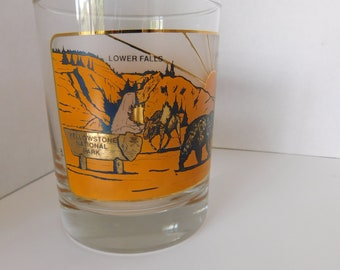 Wyoming Yellowstone National Park Double Old-Fashioned Glassware with Gold, Dark Yellow and Silver Background
