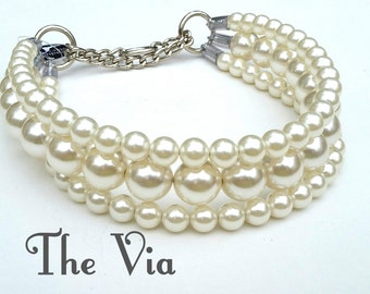 The Via in Ivory~ Pearl Dog Collar,Cat collar, Buckle Collars, Martingale Collars, Dog Pearls UNBREAKABLE GUARANTEE!