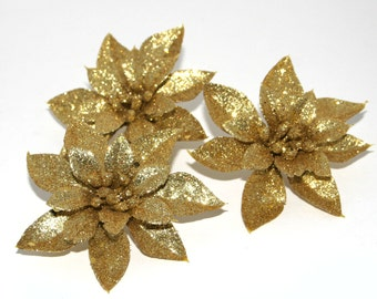 Gold flowers artificial flowers etsy studio 3 glittery gold christmas poinsettia silk flowers christmas flowers mightylinksfo