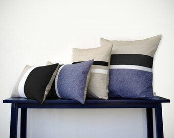 Black & White Chambray Striped Colorblock Pillow Cover Set of 4 - Modern Home Decor by JillianReneDecor (Custom Colors Available)