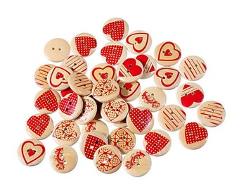 25 wooden heart red 2 hole buttons