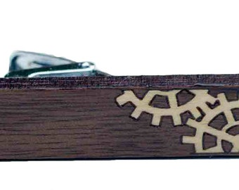 Wood Tie Clip, Solid Walnut with Aspen Gear Inlay. Clamp, accessory.