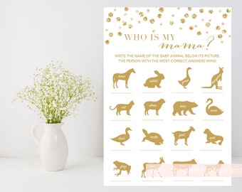 Who is my mama? Game printable, Gold baby shower game, gold confetti, all gold shower game, gender neutral, INSTANT DOWNLOAD 008