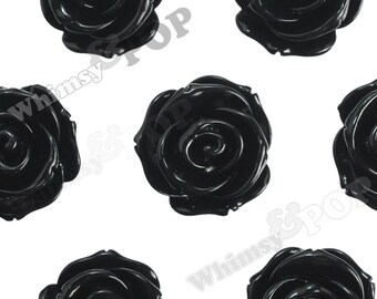 23mm - Large Black Rose Cabochons, Flower Cabochon, Rose Shaped, 23mm (R5-014)