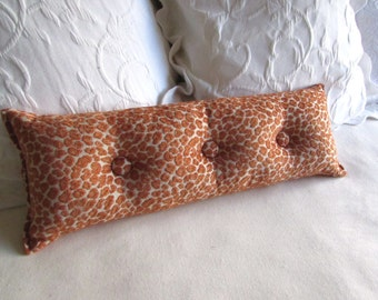 SALMON SPICE chenille accent lumbar throw Bolster Pillow with buttons