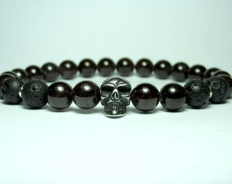 Mens Garnet Skull Bracelet, Mens Beaded Bracelet, Stainless Steel Skull Bracelet, Black Lava Bracelet, Gift for Men, Mens Garnet Bracelet