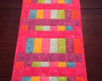 Table Runner, Quilted, Rainbow Weave