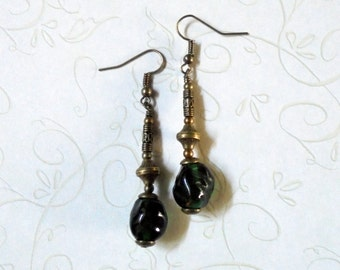 Emerald Green and Brass Earrings (3000)