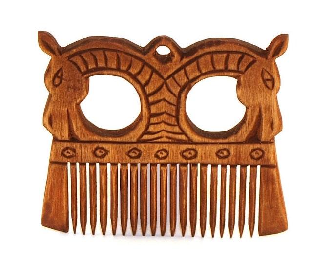 Viking Wooden Comb with a horses