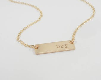 Horizontal Bar Necklace - Hand stamped Necklace - Personalized Jewelry