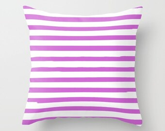 Girls Bedroom Decor, Purple Pillow, Striped Cushion, Kids Room Decor, Tween Girls, Kids Pillow Covers, Purple Cushion, 22x22, 18x18, Stripes
