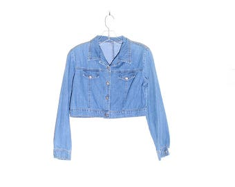 90s CROP TOP denim  shirt jacket denim shirt cropped look  hemmed long sleeve button up jean jacket oversized 90s clothing 90s grunge