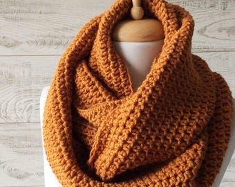 Mustard Scarf, infinity scarf, Winter Scarf, Cowl, Knit Scarf, knit scarf, women scarf, Many Colors