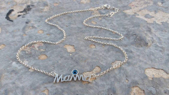Mama necklace, layered necklace, mommy necklace, pearls necklace,statement necklace,925 sterling silver, pendant necklace