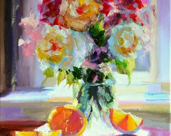 Art Print of an original painting of ROSES, pink and blue, bright still life, decorative, classical,floral art,