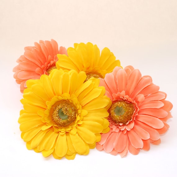 4 pack spring daisies yellow peach artificial flowers silk 4 pack spring daisies yellow peach artificial flowers silk flower heads from silkinspirations on etsy studio mightylinksfo