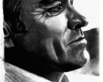 Original A4 charcoal drawing of Morrissey