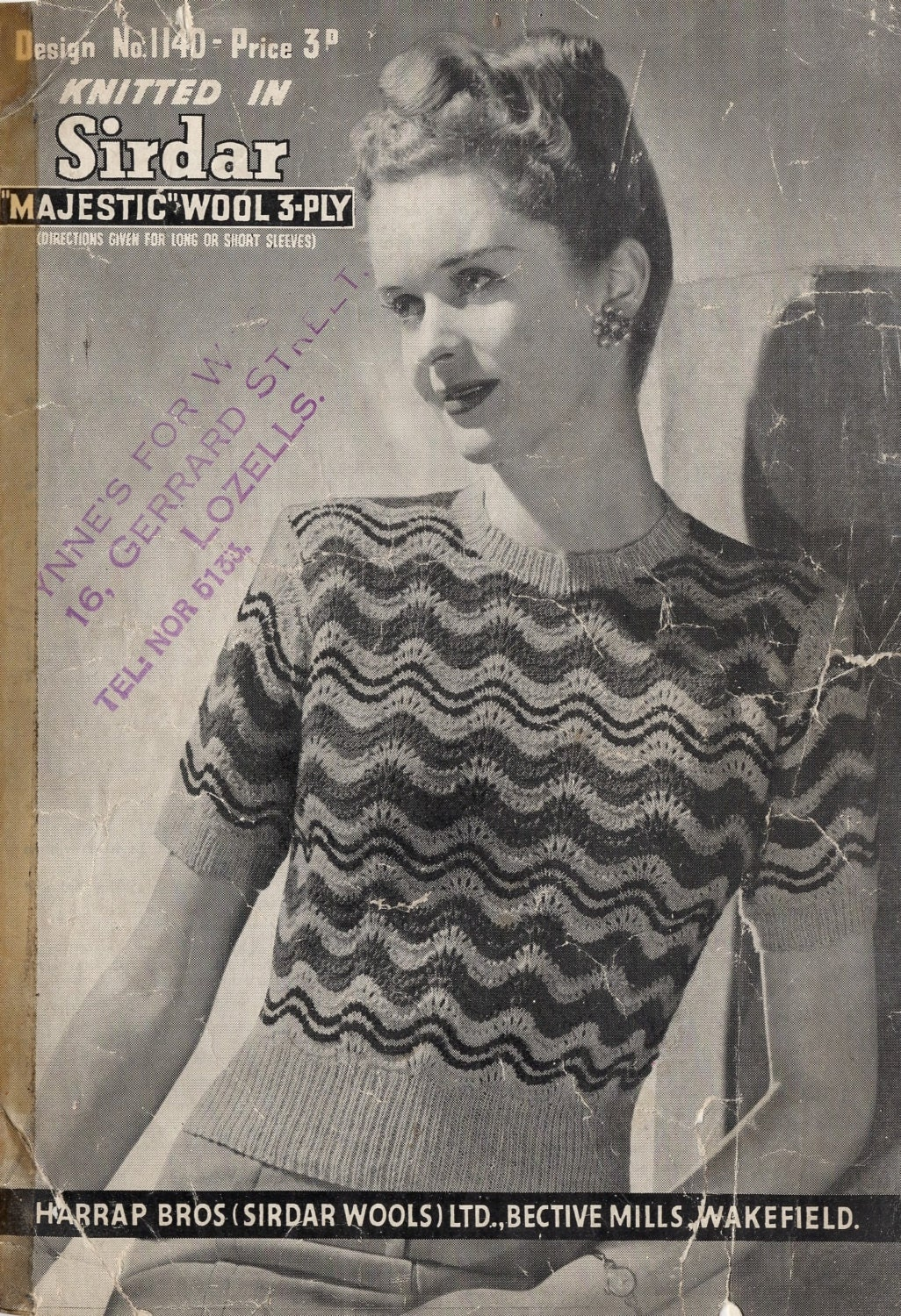 1940\'s Sirdar 1140 PDF Knitting Pattern - Feather and Fan Stripe ...
