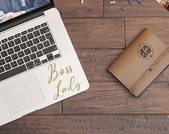 "Decal ""Boss Lady"" for Laptop, Wall, Car, Desk, Office, Mug"