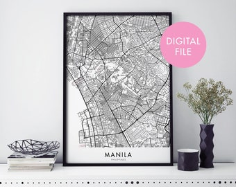Manila, Philippines City Map Print Wall Art | Print At Home | Digital Download File