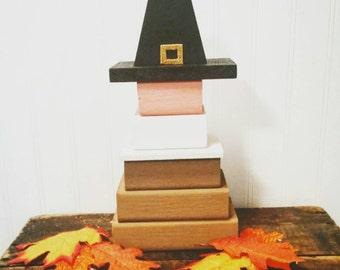 Wooden pilgrim, Repurposed wood, Rustic Thanksgiving decor, Stackable Pilgrim,  Handpainted Thanksgiving table accent, Block Pilgrim, Turkey