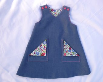 Toddler Pinafore Dress in denim, 'A' line, reversible, fully lined, front patch pockets, shoulder fastening Age 12 months