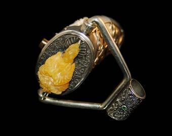 MANTRA PENDANT with Secret Compartment / Amber - Tooth - Belgium Diamond - Tanzanite - Green Garnet - 24k Gold - Silver - Tribal - Fossil