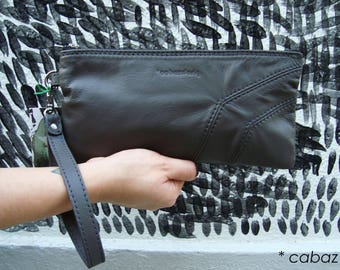 Small evening bag grey pouch, leather, cabaz