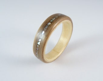 Wood Ring Walnut, Sycamore and Abalone Shell Inlay Hand Made In Any UK or US Size.  Optional Inscription or Engraving