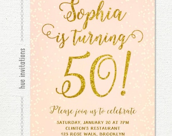 50th birthday invitation, womens peach and gold glitter birthday party invitations, printable digital file jpg pdf 129