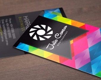 "100 Business Cards or hang tags - 3.5""X2"" - 14 PT glossy - custom printed UV coated"