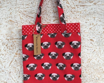 Tote Bag,Shopping Bag,Handmade Bag,Handy Bag,Handmade,Pug Bag,Pug Shopping Bag,Pug Fabric,Pug Gift