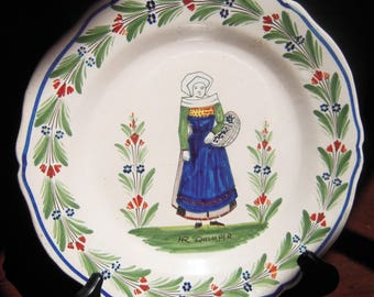 Antique French Quimper Pottery Plate Demi Fantasie Peasant with Basket French country Pottery