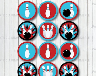Printable Cupcake Toppers, Bowling Theme, Bowling Ball, Bowling Pin, Strike, Party, Favors, Birthday, Decorations, DIY,  INSTANT DOWNLOAD