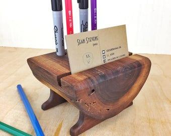 Walnut Wood Desk Organizer, Office Decor, Rustic Business Card Holder, Desk Accessory,Gift for him, Handmade Gift, Pencil Holder, Pen Holder