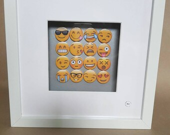 Emoji 16 handmade badges in a box frame. ..perfect as a gift. Smiley, tears of laughter,  geeky, shock, in love emojis etc