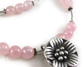 SAKURA rose quartz necklace, pink round beads, hill tribe silver, flower pendant