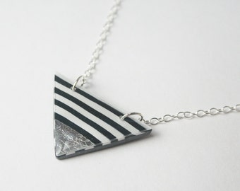 Black and White Striped Triangle Necklace, Silver Dipped Triangle Pendant, Modern Geometric Jewelry, Sterling Silver Nickel Free Jewelry