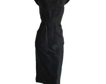 Exquisite Vintage 50s Hattie Carnegie Black Dress