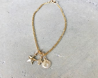 Beach Bracelet, Seashell Bracelet, Cross Bracelet, Star Bracelet, Hawaii jewelry