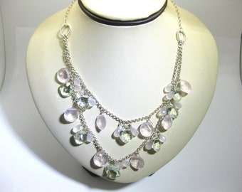 Rose Quartz and Green Amethyst Necklace in Sterling Silver