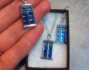 Police Box Miniature Charm Earrings or Necklace