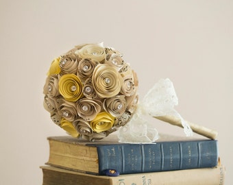 Vintage Music Paper & Coloured Rose Bouquet