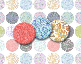 Assorted Paisleys Printable 1-Inch Circles / Bottlecap Images / Colorful Paisley Patterns / Printable Digital Collage / Instant Download