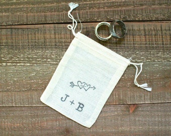 Personalized wedding ring bag, cotton ring bag, ring pillow, ring bearer, ring warming, hearts with initials, cloth ring pouch, wedding ring